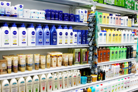 Skincare and cosmetic products on display in a department store