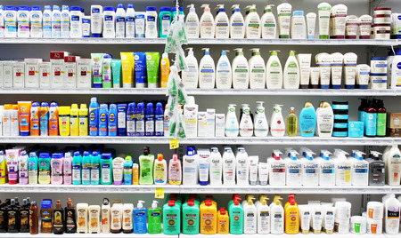 hair product: Skincare and cosmetic products on display in a cosmetic store
