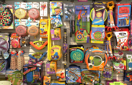 Classic and retro toys in a toy store 에디토리얼