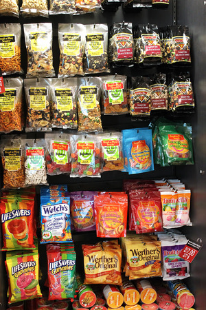 Variety of snacks on a food stand