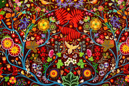 Close up of a colorful handmade traditional rug fabric abstract background 스톡 콘텐츠