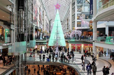Busy Christmas shopping day at Toronto Eaton Centre
