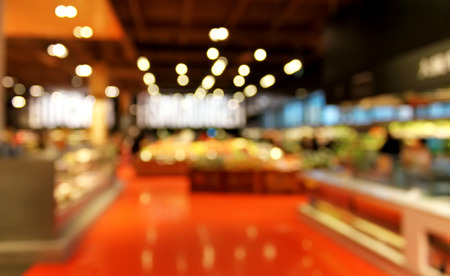 convenient store: Grocery store blurred background with bokeh