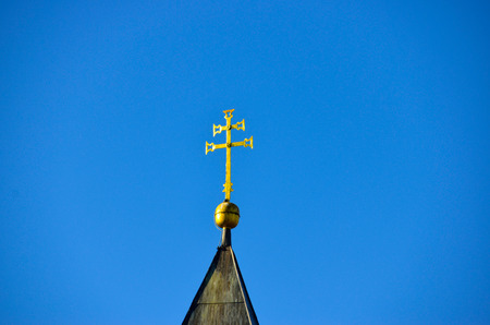 Double cross on top of a christian church. Stock Photo