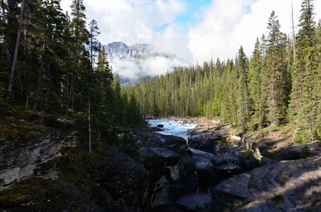 Small canadian river canyon by mountains and trees Stock Photo