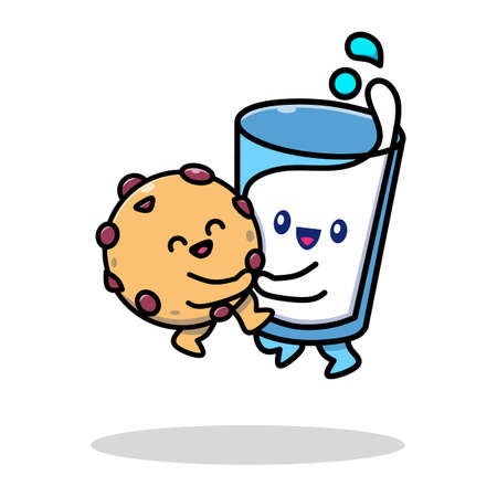 cartoon character vector illustration of biscuit snacks and a glass of milk with adorable facial expressions, very suitable for food icons, biscuit advertisements