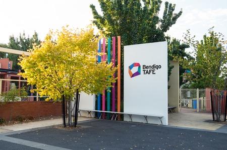 further: Bendigo, Australia - April 15, 2017: campus of Bendigo TAFE, a public college of technical and further education.