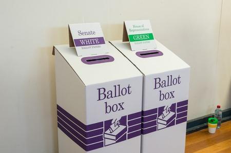 Melbourne, Australia - July 2, 2016: ballot box at the 2016 Australian federal election.
