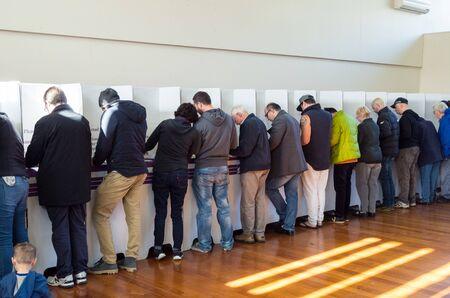 Melbourne, Australia - July 2, 2016: voters inside a polling booth on the 2016 federal election date. Sajtókép