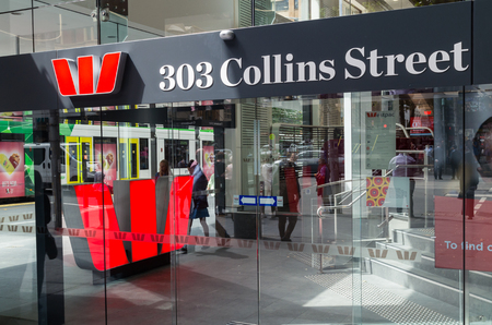 Melbourne, Australia - February 23, 2017: Westpac Bank is Australias oldest bank and one of Australias four large national banks. This is its 303 Collins Street branch.