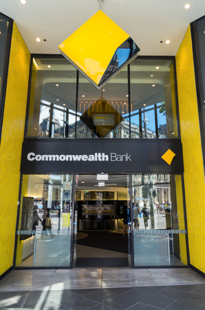 Melbourne, Australia - February 23, 2017: the Commonwealth Bank of Australia is Australias largest bank. This is its flagship branch on Bourke Street. Redakční