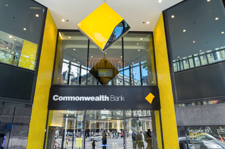 Melbourne, Australia - February 23, 2017: the Commonwealth Bank of Australia is Australias largest bank. This is its flagship branch on Bourke Street. Editöryel