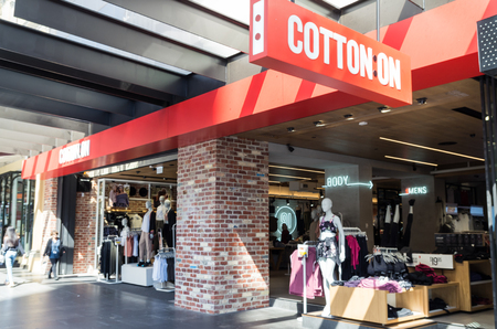 specializes: Melbourne,, Australia - February 23, 217: Cotton On is an Australian fashion group with almost 1200 stores. It specializes in fast fashion, often with controversial slogans. Editorial