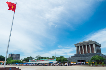 Hanoi, Vietnam - August 16, 2015: crowds of people lining the plaza outside Ho Chi Minhs tomb in Hanoi.
