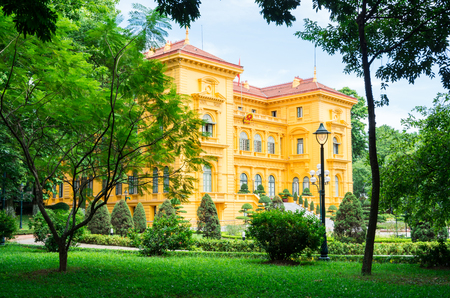 The Presidential Palace in Hanoi, Vietnam, was built between 1900 and 1906 as the former governors residence. Stok Fotoğraf