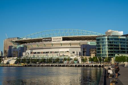 Melbourne, Australia - January 6, 2017: Etihad Stadium is a multi purpose sport stadium in Victoria Harbour in Melbournes Docklands district.