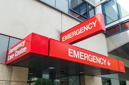 Hospital emergency room sign outside an Australian hospital