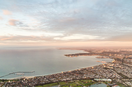Aerial view of Melboure bayside suburbs of Albert Park, South Melbourne and Port Melbourne in Australia