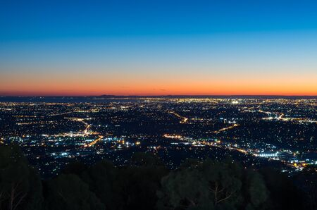 sprawl: View of Melbourne, Australia at sunset from Mount Dandenong in the Dandenong Ranges.