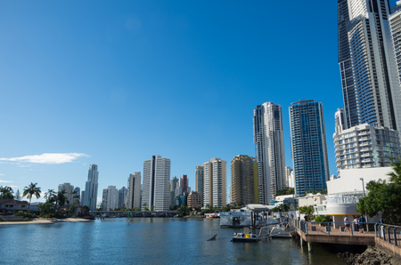 Gold Coast, Australia - July 12, 2017: modern apartment buildings on the banks of the Nerang River in Surfers Paradise, part of the rapidly growing Gold Coast City. Editorial