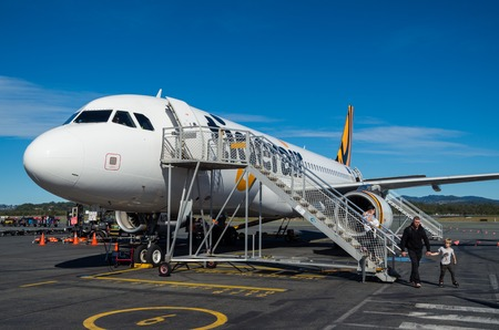 Coolangatta, Australia - July 8, 2017: Tigerair Australia is an Australian low-cost airline primarily operating Airbus A320-200 aircraft. Editorial