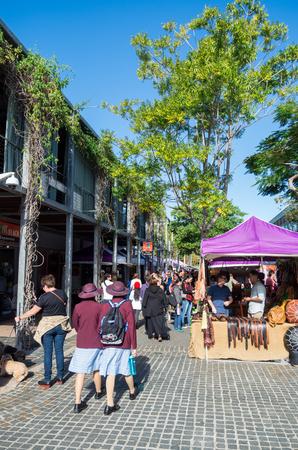 shopfront: Brisbane, Australia - July 9, 2017: Little Stanley Street is a popular street of restaurants, shops and a public market on the South Bank of Brisbane. Editorial