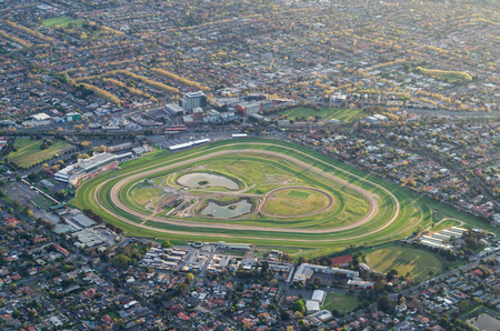 Aerial view of Caulfield Racecourse, a horse race track in the suburb of Caulfield in Melbourne, Australia