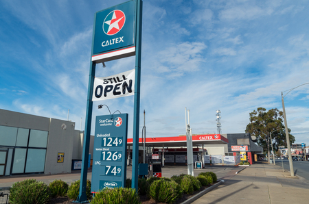 Shepparton, Australia - June 12, 2017: Caltex is a petroleum brand owned by Chevron Corporation. In Australia it is a 50 percent joint venture with Australian shareholders.