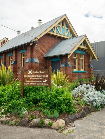 Melbourne, Australia - February 14, 2017: Hawthorn West Baptist Church is a suburban baptist church in Hawthorn in Melbourne.