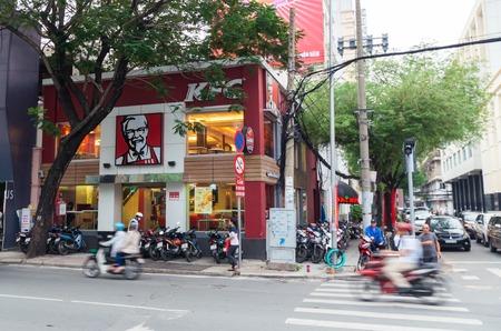 Ho Chi Minh City, Vietnam - August 19, 2017: KFC fast food restaurant in District 1. KFC is an American chicken restaurant chain. Editorial