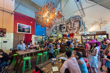 Melbourne, Australia - February 7, 2016: Lentil As Anything is a social enterprise vegetarian restaurant at Abbotsford Convent in inner city Melbourne. Editorial