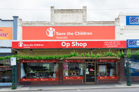 Ararat, Australia - October 21, 2017: Save The Children is an Australian charity assisting children in need. It operates op shops to raise funds, including this store in Ararat.