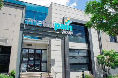 Melbourne, Australia - November 19, 2017: Metro Pain Group is a business providing patient pain care. Its office is located in Clayton.