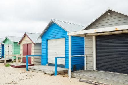 Colourful beach huts on Edithvale Beach in Melbourne, Australia. Stock Photo
