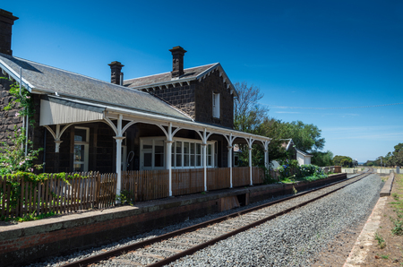 Bannockburn, Australia - February 15, 2015: the Bannockburn railway station was constructed in 1862. It no longer operates as a railway station.