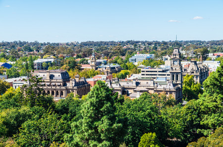 Aerial view of the Bendigo law court buildings and downtown area in Bendigo, Australia.