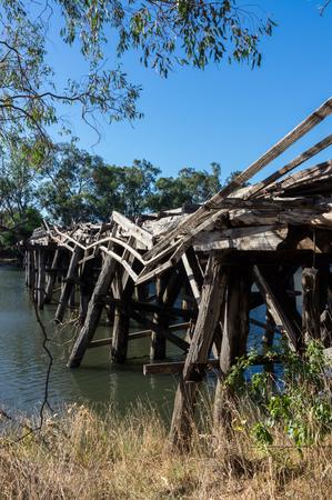 Historic Chinamans Bridge over the Goulburn River near Nagambie in Victoria, Australia.