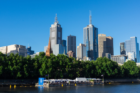 Melbourne, Australia - January 16, 2018: Arbory Afloat floating bar on the northern bank of the Yarra River. Arbory Afloat is a temporary bar during the 2017 to 2018 summer.