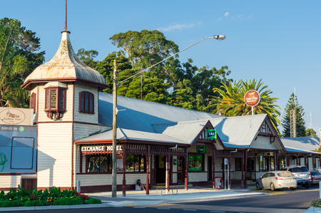 Foster, Australia - January 28, 2018: Foster is a dairy and farming town in South Gippsland. The Exchange Hotel was rebuilt in 1907 after a fire.