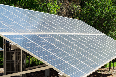 An array of photovoltaic solar cells generating green energy in Healesville, Australia Stock Photo