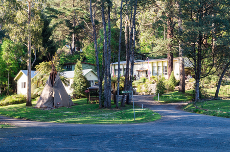 Tanjil Bren, Australia - October 18, 2015: Moose Head Lodge is an isolated off grid lodge at the foot of Mount Baw Baw, a popular ski resort. Sajtókép