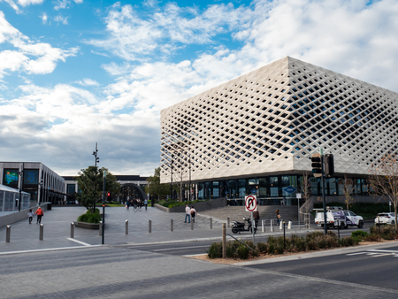 Melbourne, Australia - July 21, 2018: Realm Library, Learning and Cultural Centre in the Town Square at Eastland Shopping Centre in Ringwood was completed in 2015.