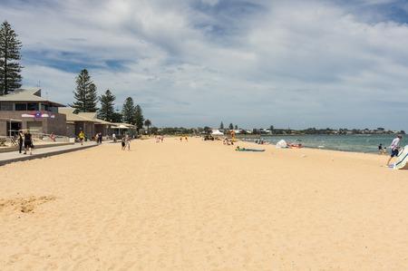 Melbourne, Australia - February 18, 2018: Elwood Beach is a popular Port Phillip Bay beach in Elwood in the City of Port Phillip.