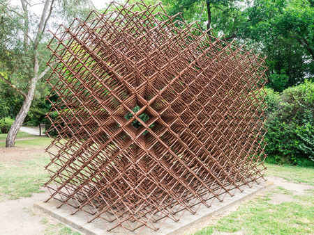 Melbourne, Australia - January 7, 2018: the sculpture Theoretical Matter by Neil Taylor at the Heide Museum of Modern Art sculpture park in suburban Bulleen.