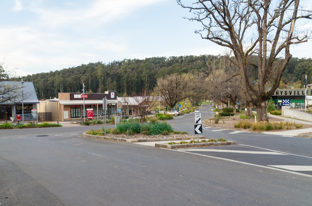 Marysville, Australia - October 2, 2015: Murchison Street is the main street of Marysville, a small country town almost destroyed in a 2009 bushfire. Editorial