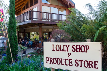 Marysville, Australia - October 2, 2015: Lolly Shop and Produce Store in Marysville in Murrindindi Shire. The original lolly shop was destroyed during the 2009 bushfire.