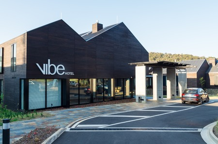 Marysville, Australia - October 2, 2015: Vibe Hotel Marysville features a number of dining and accommodation options on Murchison Street. It was built after the 2009 bushfire.