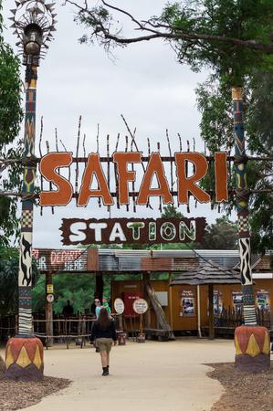Melbourne, Australia - February 28, 2018: Safari Station at Werribee Open Range Zoo. Buses through the zoo depart from the safari station.