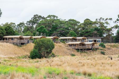 Melbourne, Australia - February 25, 2018: safari lodges offering accommodation within Werribee Open Range Zoo on the western fringes of Melbourne.