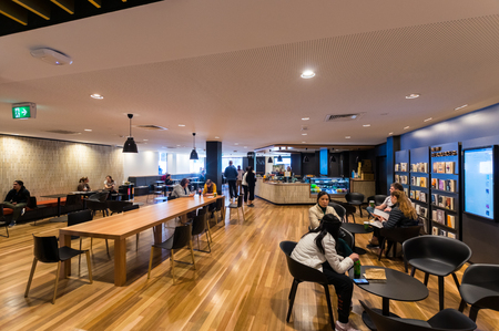Melbourne, Australia - August 5, 2018: The Gallery cafe inside the Sir Louis Matheson Library at the Monash University Clayton campus, refurbished in 2017 by Cox Architecture.